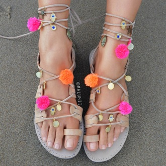 sandals customised pom-poms maluhii maluhii shoes custom sandals gladiators