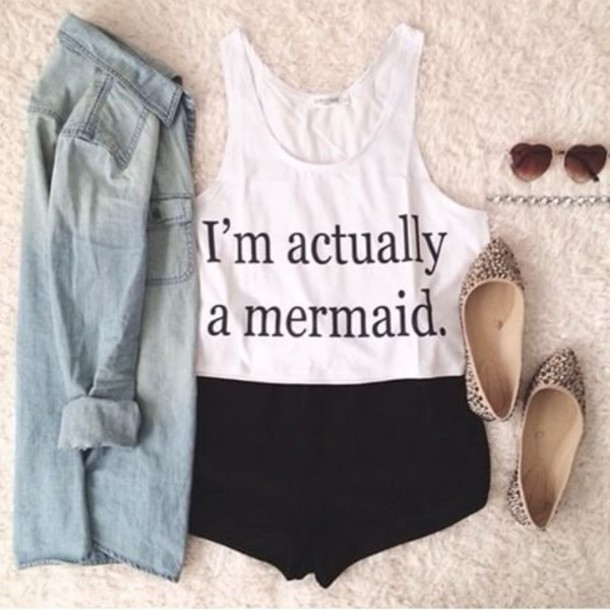 shirt crop tops im a mermaid it's true blouse