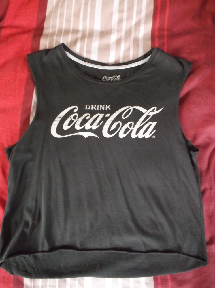 River Island Dark Grey Coca Cola cropped T-Shirt | eBay