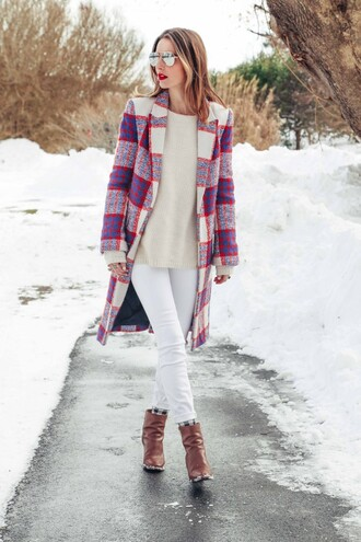 prosecco and plaid blogger winter coat mirrored sunglasses brown leather boots white jeans coat jeans shoes sweater make-up sunglasses