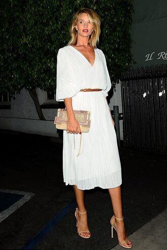 dress white midi dress rosie huntington-whiteley sandals purse shoes