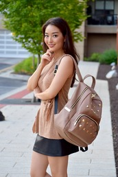 sensible stylista,blogger,bag,shoes,beige,backpack,nude top,beige top,leather skirt,mini skirt