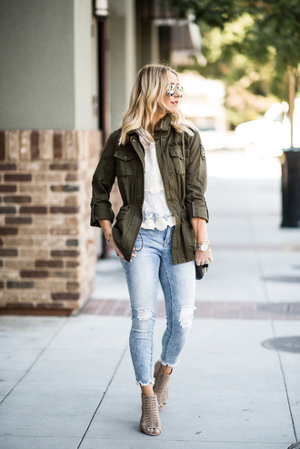 gbo fashion blogger jacket top jeans shoes bag army green jacket booties white top fall outfits