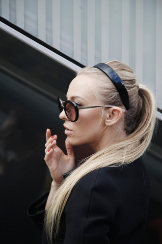 5 inch and up blogger hairstyles round sunglasses ponytail