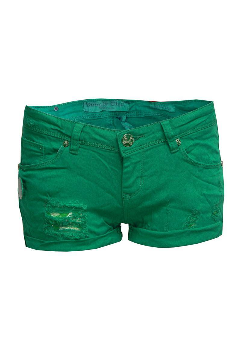 Gemma Crease Effect Ripped Shorts in Green