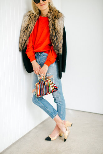 luella & june blogger jacket sweater jeans bag shoes pumps slingbacks chanel slingbacks red sweater winter outfits fur collar coat