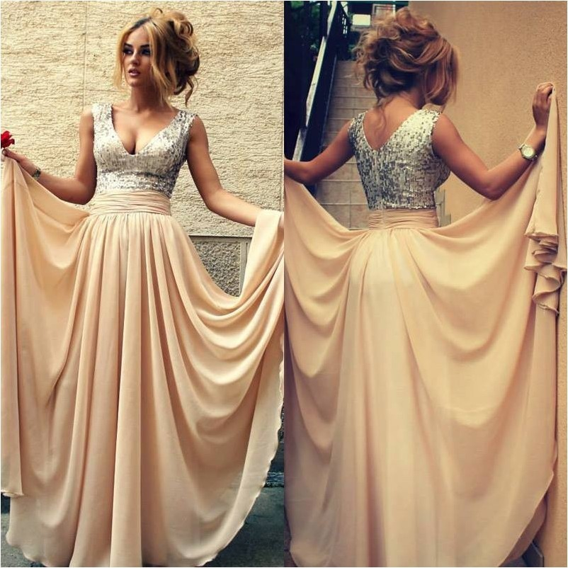 Aliexpress.com : buy in stock tank v neck champagne sequin long prom dresses for special occasion dresses 2014 from reliable dress polyester suppliers on suzhou babyonline dress store