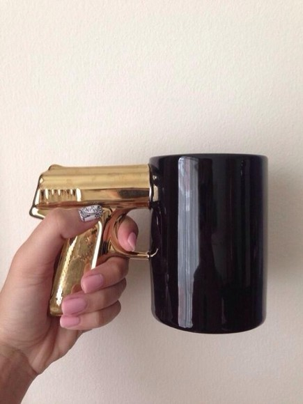 gold gun jewels gun coffee cup houseware black thug nails