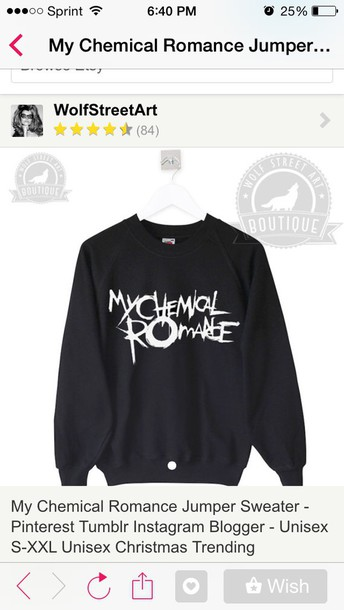 sweater my chemical romance black sweater band