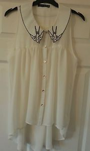 Primark atmosphere cream sleeveless diphem collar shirt black swallow size uk 10