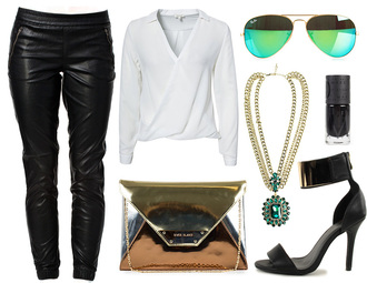 cath in the city pants blouse bag jewels sunglasses nail polish shoes