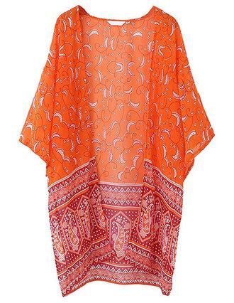 cardigan brenda-shop kimono paisley floral kimono orange summer beach sheer see through transparent