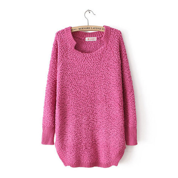 sweater solid color sweet loose