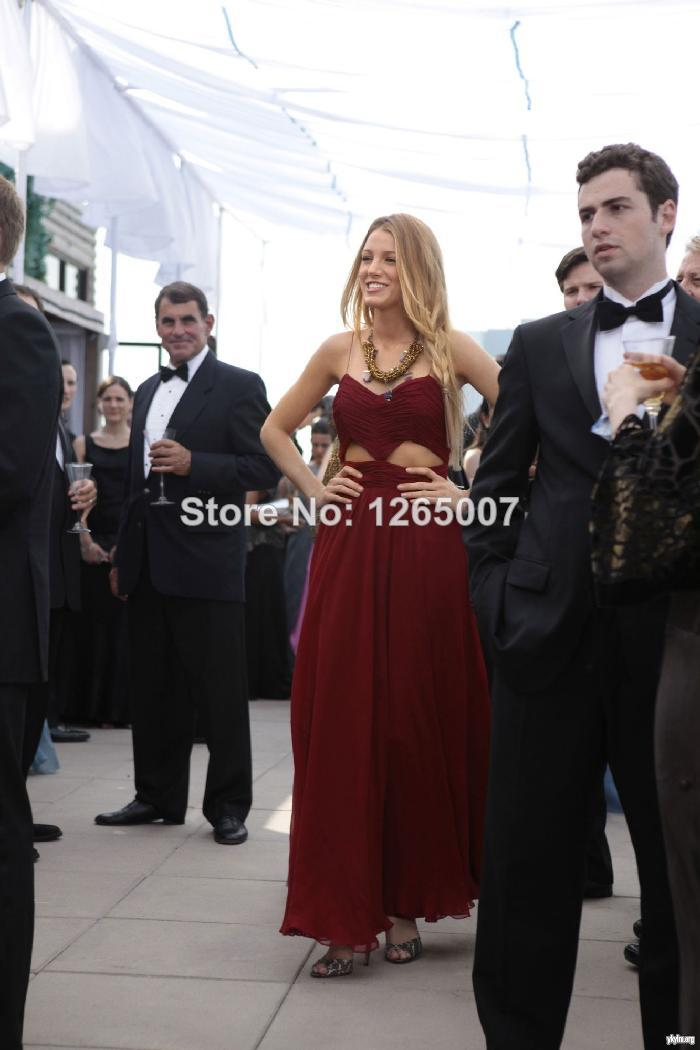 Aliexpress.com : Buy Gossip Girl Blake Lively Sweetheart Serena Burgundy Chiffon Cut Out Keyhole Summer Celebrity Dresses New Fashion Prom Dresses from Reliable dresses prom dress suppliers on SFBridal
