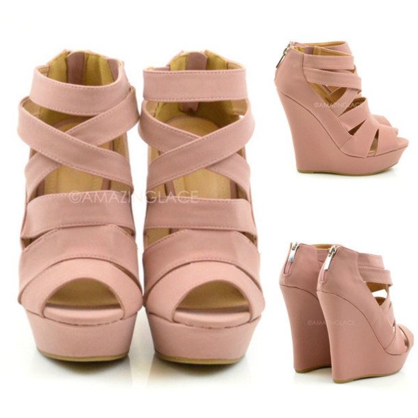 88dc9bda9e0 shoes caged wedge heels pink dusky pink heels summer sexy dressy wedges