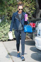 jacket,jessica alba,celebrity style,celebrity,gym clothes,workout leggings,sunglasses,bag,blue bag,black leggings,leggings,running shoes