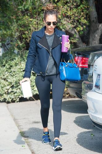 jacket jessica alba celebrity style celebrity gym clothes workout leggings sunglasses bag blue bag black leggings leggings running shoes