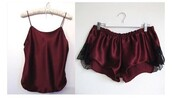 shorts,pajama shorts,burgundy,red,pajamas,cute,top,silk,spaghetti strap,lace,camisole,nightwear,jumpsuit,silk sleepwear,silk pajamas