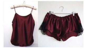 shorts pajama shorts burgundy red pajamas cute top silk spaghetti strap lace camisole nightwear jumpsuit silk sleepwear silk pajamas