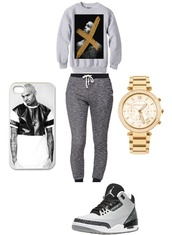 phone cover,chris brown,jumper,jordans,watch,grey sweatpants,sweatpants,phonecase iphone,iphone 5 case,jewels,nail polish,shoes,iphone cover,iphone case,gold watch,air jordan,sweater