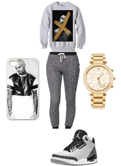 chris brown phone case jumper jordan shoes watch grey sweatpants sweatpants phonecase iphone iphone 5 case jewels