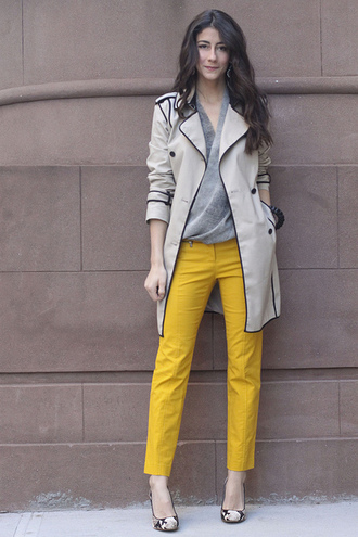 pants yellow pants top grey top coat trench coat pumps floral pumps office outfits spring outfits