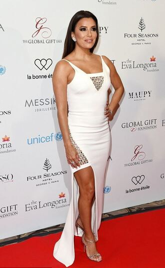 dress white eva longoria slit dress gown prom dress shoes