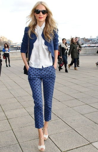 pants capri pants polka dots capri pants polka dots blue pants shirt white shirt jacket blue jacket high heel sandals sandals white sandals sunglasses spring outfits office outfits