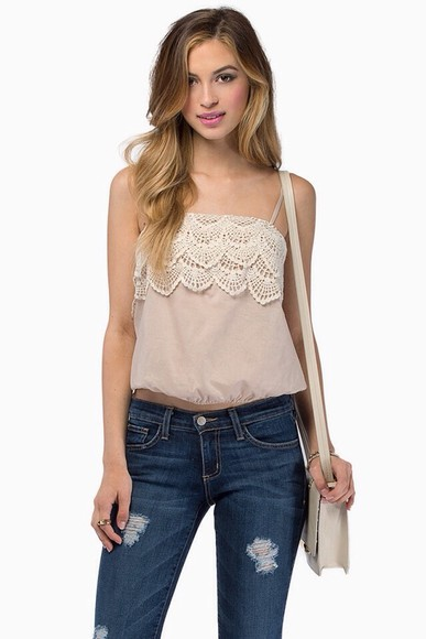 top cream cream top lace