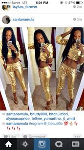 shirt,gold,joggers,pants,crop tops,dope