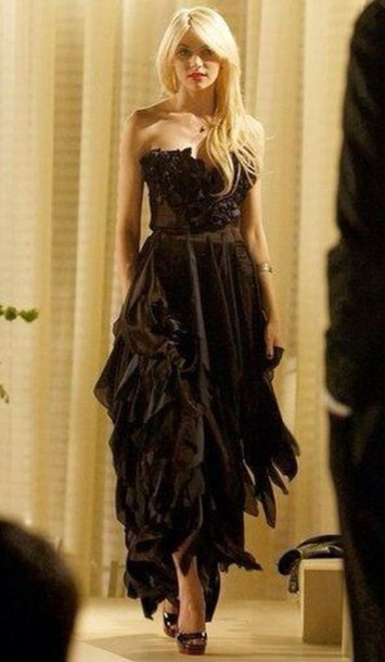 black, dress, jenny humphrey, gossip girl, prom dress - Wheretoget