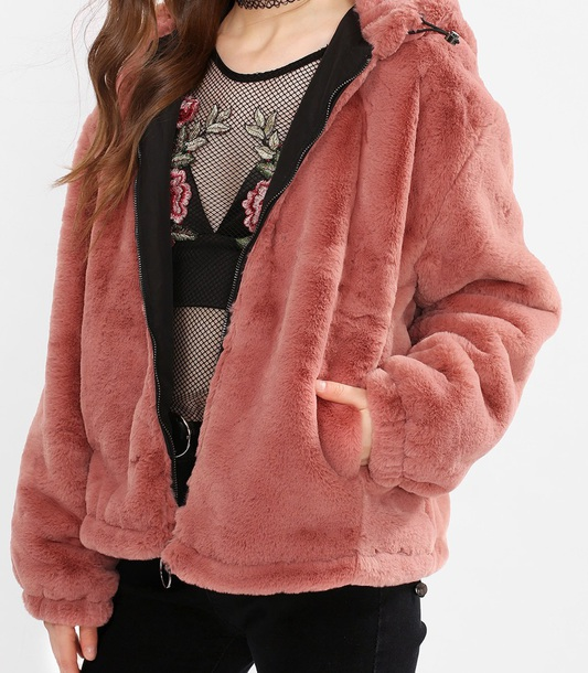 coat girly fur fur coat fur jacket hoodie comfy cute trendy pink faux fur faux fur jacket faux fur coat zip zip-up zip up jacket