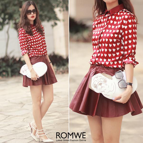 ROMWE | ROMWE White Heart Pattern Red Chiffon Shirt, The Latest Street Fashion