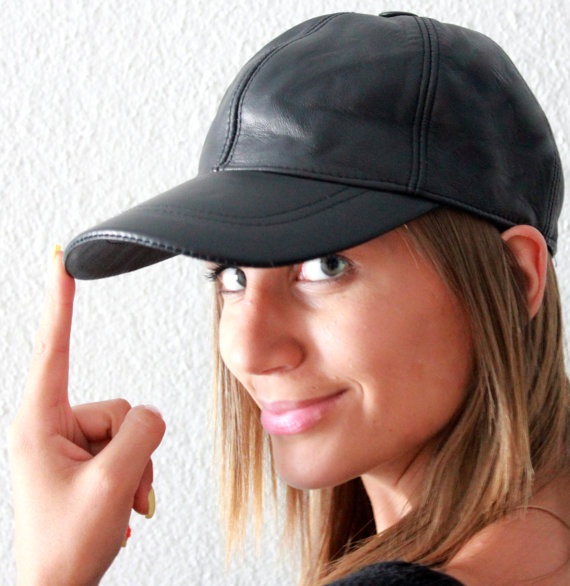 Handmade black unisex leather ball cap by lefushop on Etsy