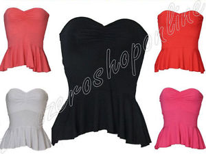 LADIES QUALITY PEPLUM BANDEAU TOPS WOMENS STRAPLESS FRILL BOOB TUBES | eBay