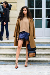 coat,fashion week street style,fashion week 2016,fashion week,paris fashion week 2016,camel coat,sweater,camel,nude sweater,dress,slip dress,mini dress,blue dress,lace dress,high heels,brown shoes,sweater over dress,bag,black bag,streetstyle,fall outfits,masculine coat,satin,satin dress,pumps