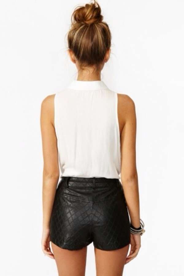 shorts leather shorts white tank top blouse