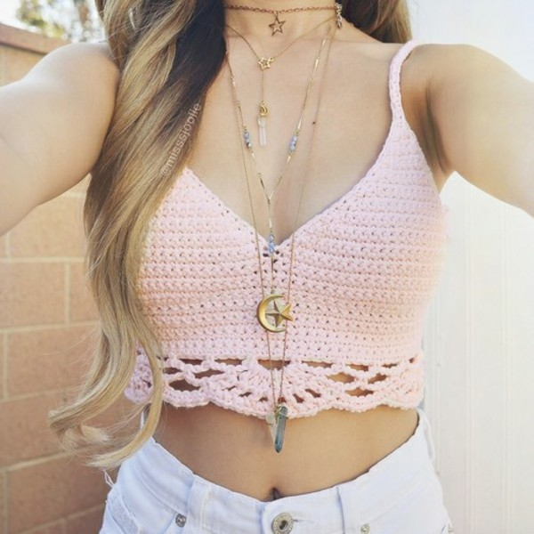 top jewels light pink baby pink soft pink crochet crop top crop tops summer top knitted crop top moon necklace