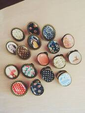 jewels,vintage,floral,retro,ring,accessories,flowers,pastel,oval ring,polka dots,photo print,coral,cyan,red,black,white
