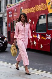 jumpsuit,pink jumpsuit,shoes,pumps,bag