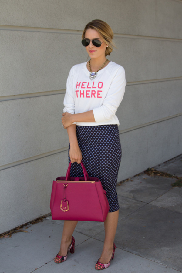 gal meets glam sweater skirt jewels shoes sunglasses bag