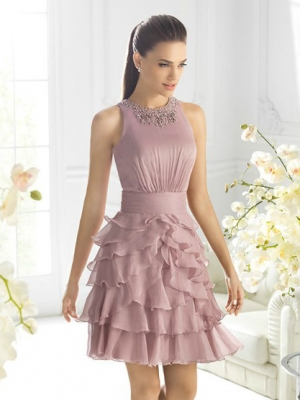 Buy Graceful A-line Round Neckline Mini Chiffon Prom Dress under 200-SinoAnt.com