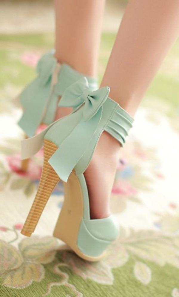 Shoes Pastel Mint Brown High Heels Pumps Bow Mint