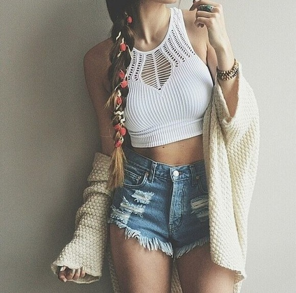 top denim shorts cardigan crop tops tank top white blue summer outfits beautiful jewels hair bow shorts sweater