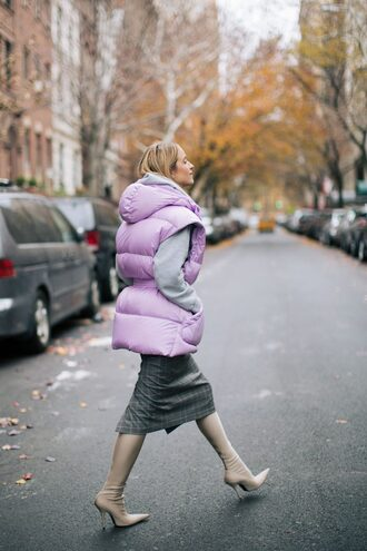 the fashion guitar blogger jacket sweater skirt shoes vest puffer jacket winter outfits thigh-high boots boots tumblr puffer vest lilac midi skirt grey skirt sock boots nude boots pointed boots