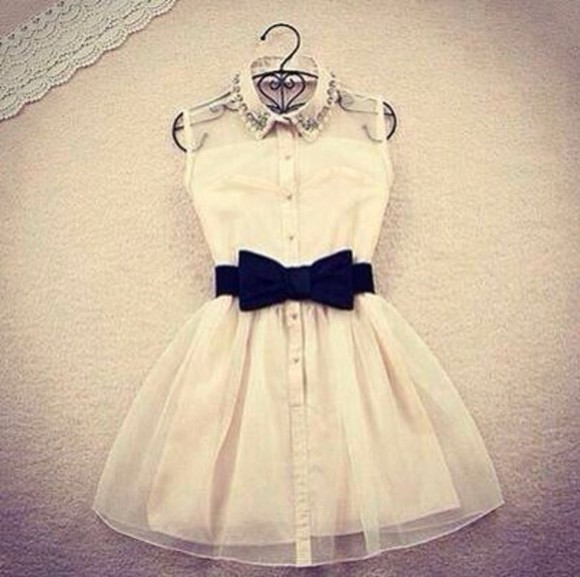 dress white dress white bow dress black bow cute dress girly tumblr outfit sweet see trough