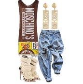 jewels,moschino,hershey,top,jeans,shoes