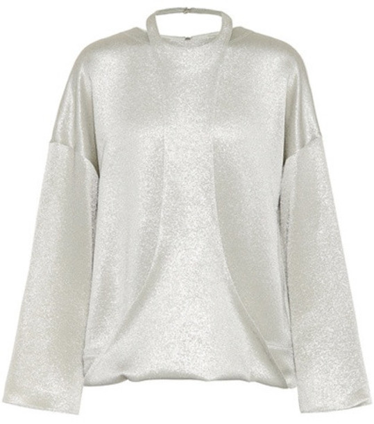 Valentino Hammered lamé top in green
