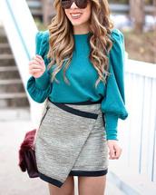 skirt,glitter skirt,silver skirt,disco skirt,mini skirt,asymmetrical,asymmetrical skirt,top,teal,blue top,glitter