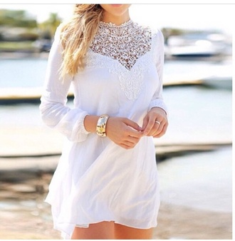 dress white white dress lace dress long sleeves long sleeve dress